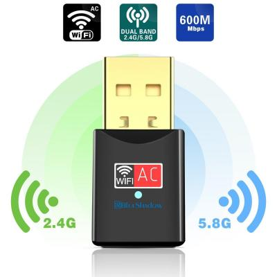 Blueshadow Adattatore WiFi USB 600 Mbps Dual Band 2.4G  5G Adattatore Wi-Fi Mini Rete Wi-Fi Wireless
